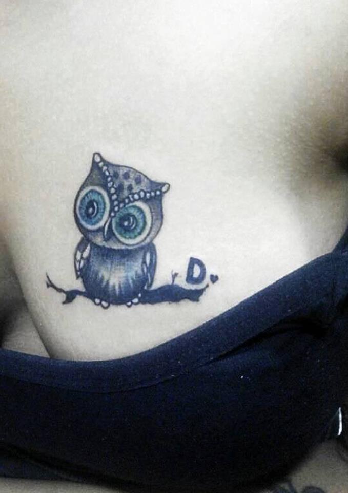 A Small Coverup Cute Owl Tattoo On Chest Blurmark