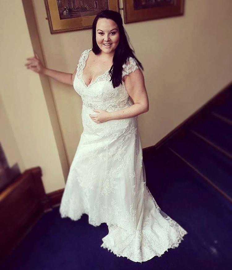 Alluring Open Neckline, Lace Cap Sleeves Plus Size Wedding Dress