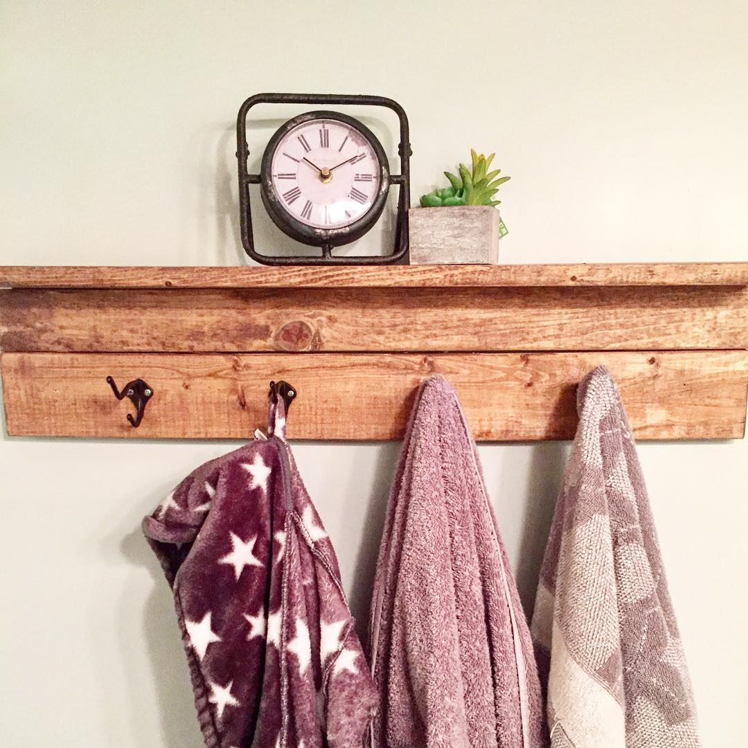 Awesome Wooden Shelf With Clothes Hanger