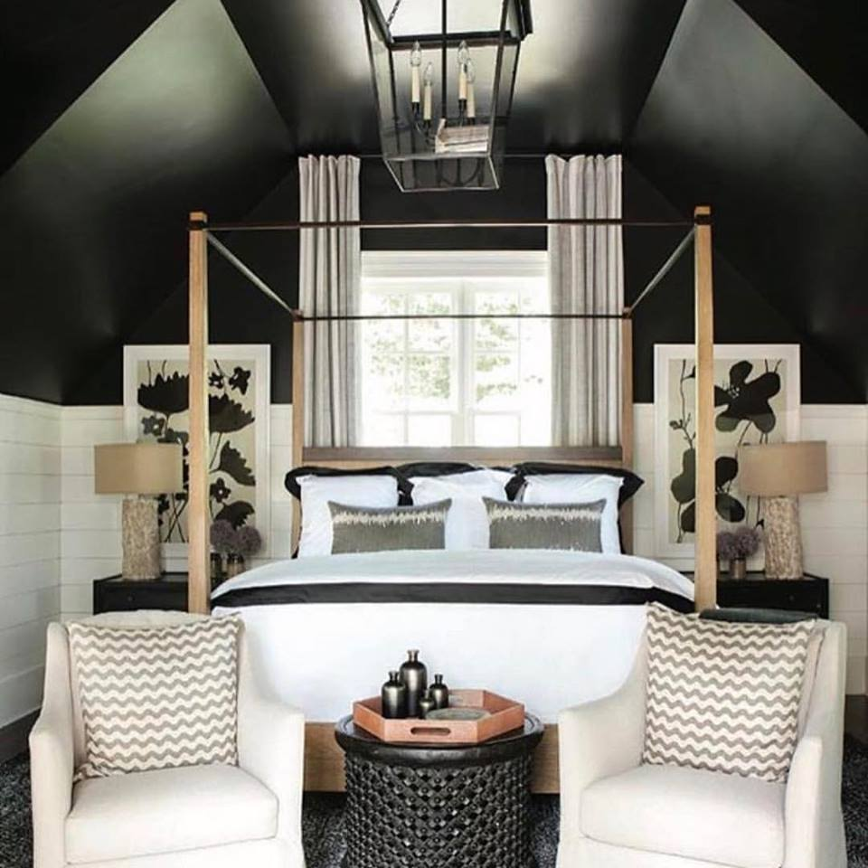 black ceiling with black white room decor