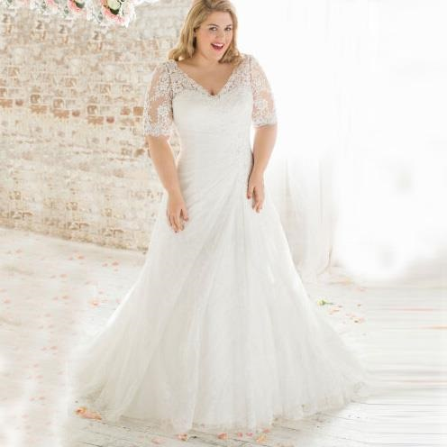Boho Style Plus Size Vintage Beaded Lace Wedding Dress Blurmark