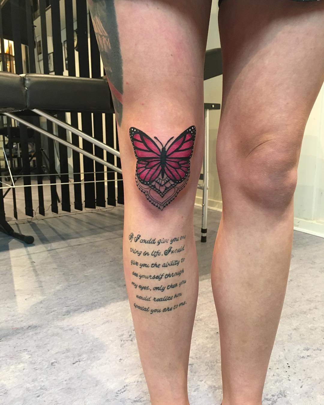Colored Butterfly On Knee