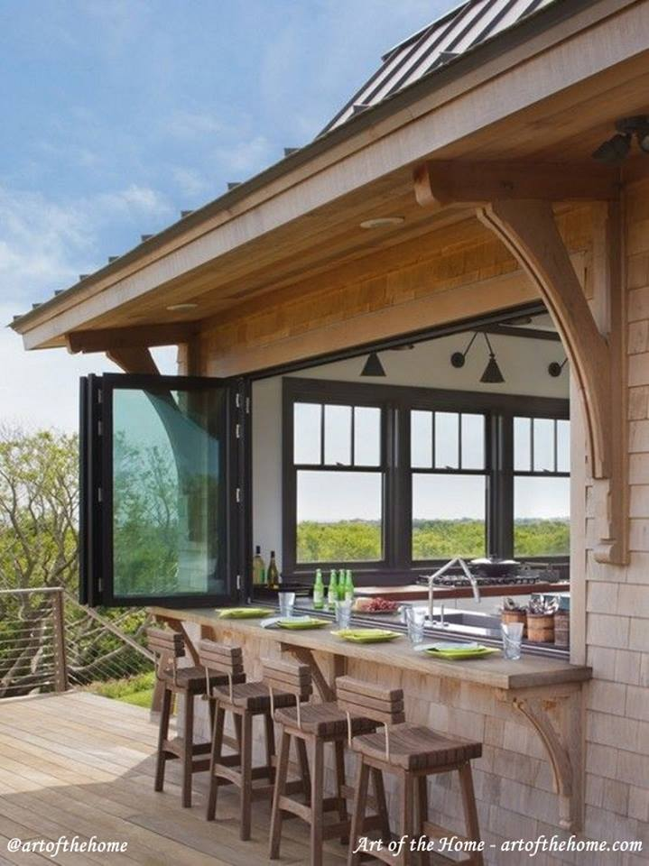Cool Outdoor Kitchen With Outside Counter Seating