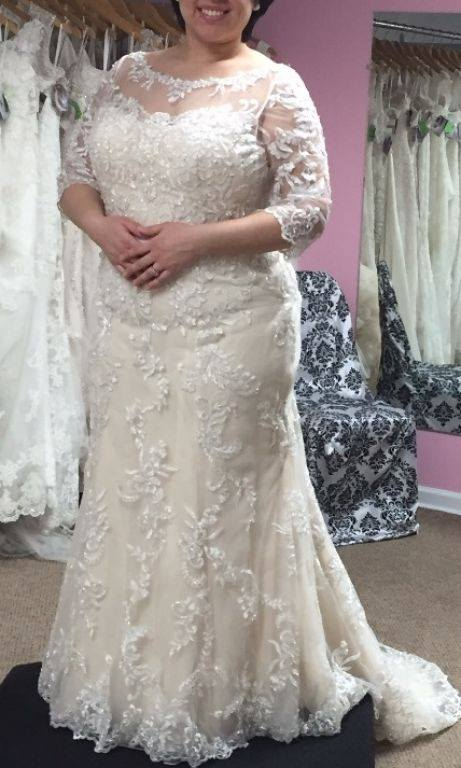 Dreamy Beaded Lace Wedding Gown For Plus Size Bride