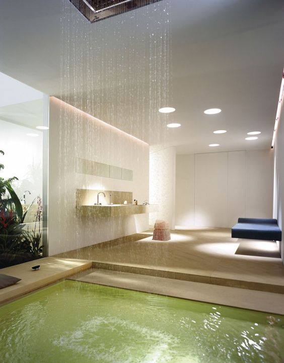 dreamy rain shower in luxury bathroom