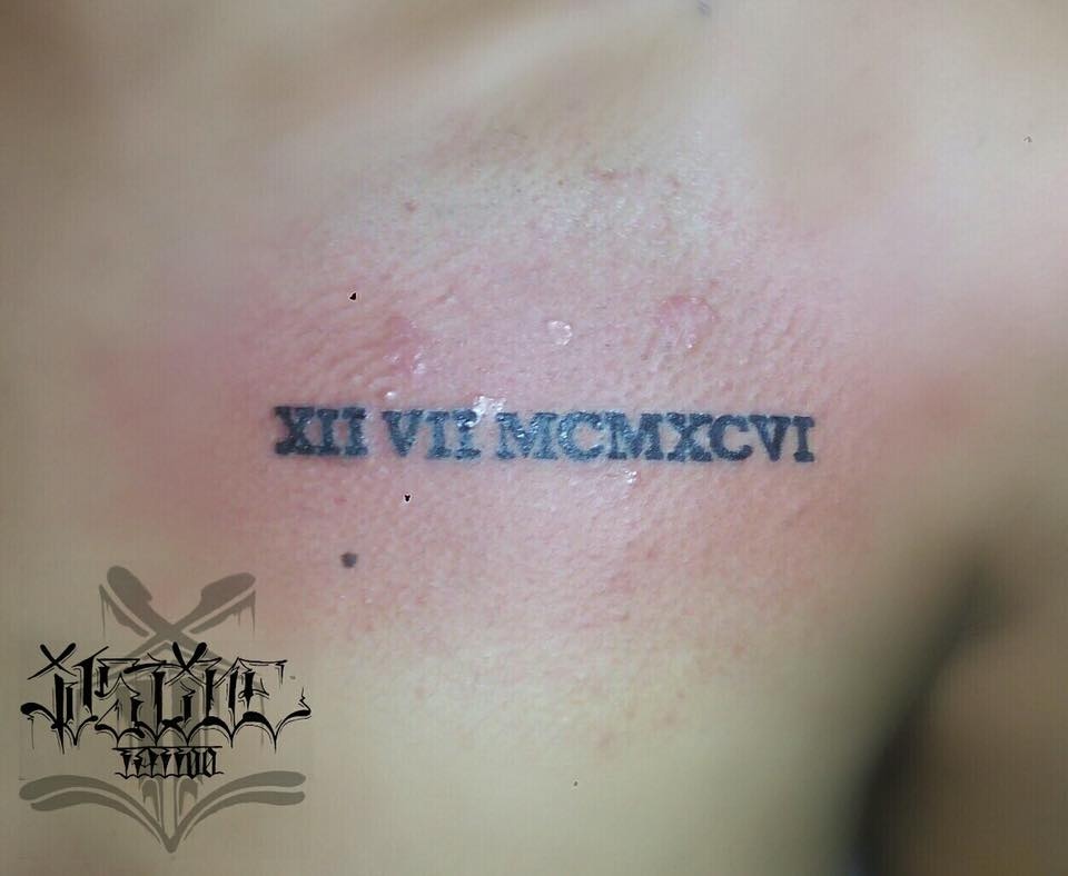 roman numerals tattoo shoulder