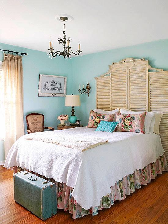 Elegant Rustic Bedroom With Flowered Pillow  White Coverlet With Vintage  Suitcase And Chandelier. 50 Charming and Rustic Bedroom D cor for Stylized Living