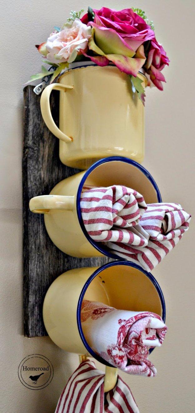 Enamel Mug Used As Flower Decor And Storage