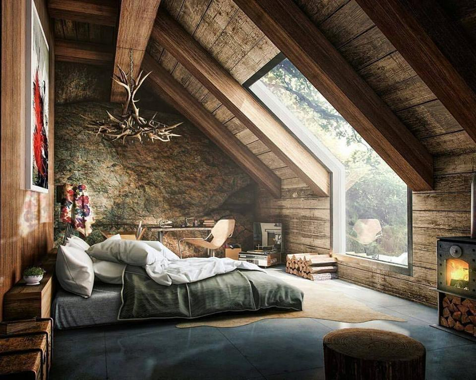 Eye Catching Rustic Bedroom With Natural View, Adorable Chandelier And Wall  Decor