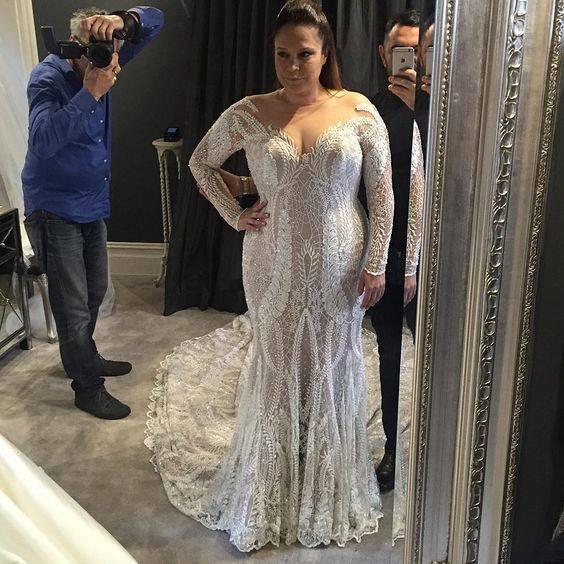 Full Sleeve Long Train Wedding Gown