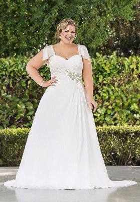 Glamorous Short Sleeve Plus Size Wedding Gown