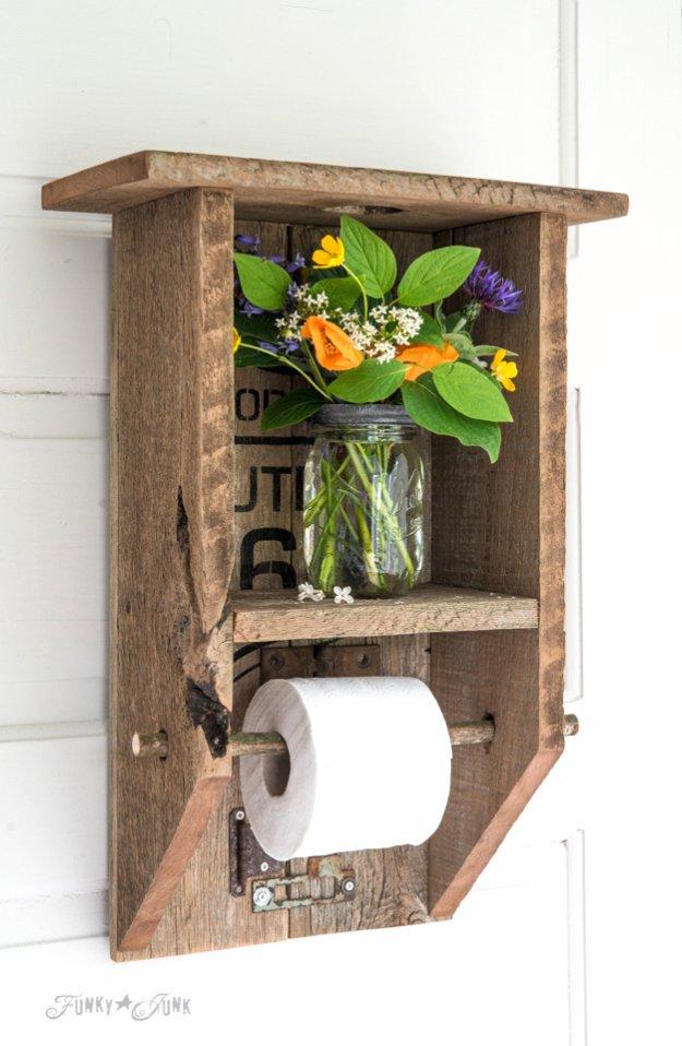 Graceful Wood Branch BathroomShelf For Tissue Holder And Plant Decor