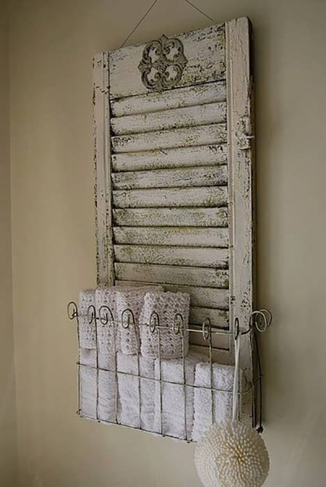 Old Shutter Repurposed Into Funstional Bathroom Decor Used As Towel Storage