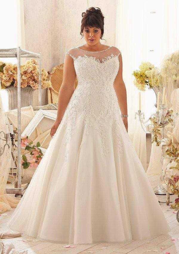 Plus Size Beaded Applique Wedding Gown