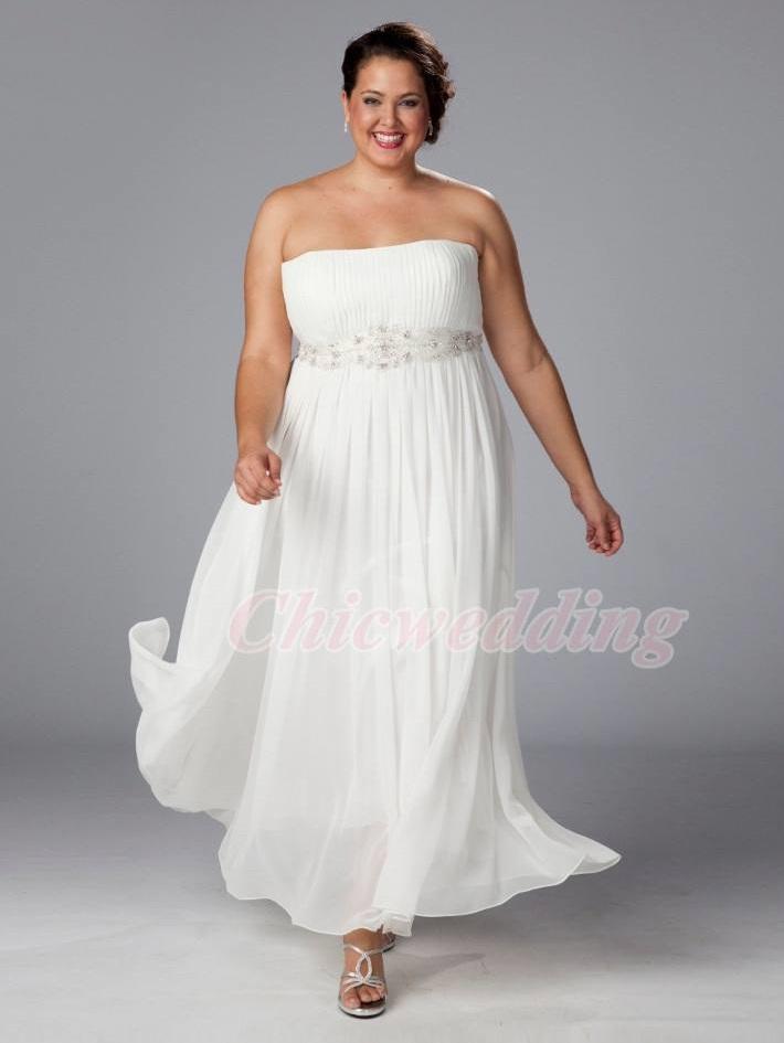 Plus Size Empire White Ivory Chiffon Bridal Gown