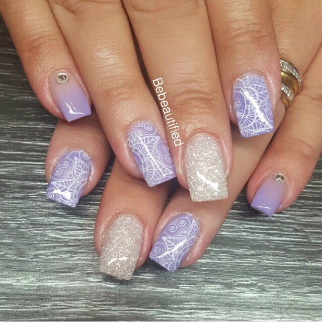 Purple Acrylic Summer Wedding Nails Blurmark