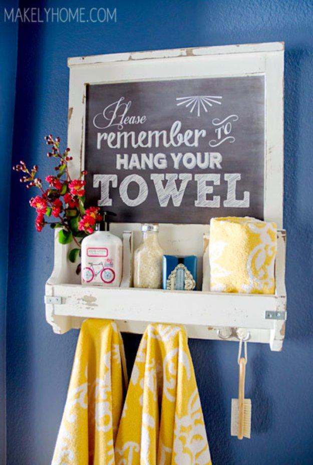 Smart DIY Chalkboard Art Towel Rack And Bathroom Accessories Holder Idea