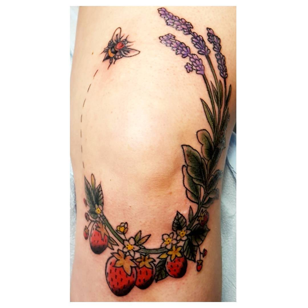 Strawberry With Bee Inked On Knee