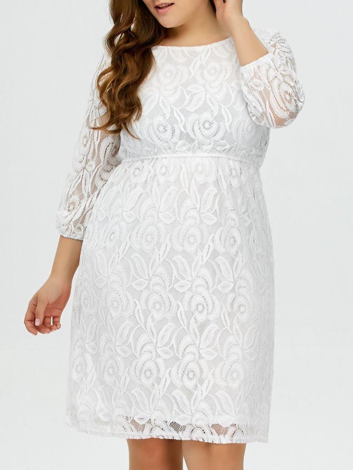 Stylish Plus Size White Wedding Dress
