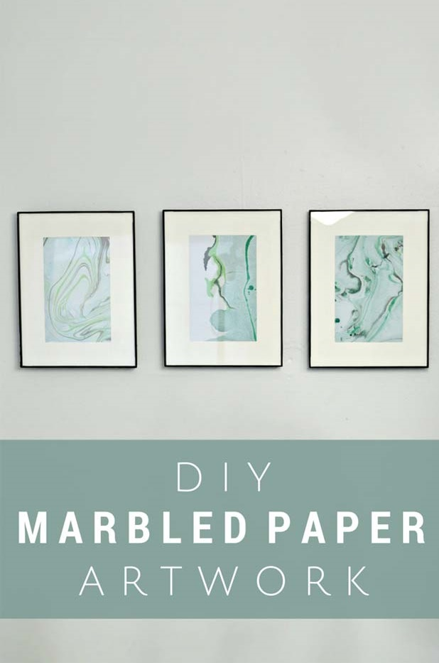 Unique Wall Decor By Marbling Paper With Nail Polish