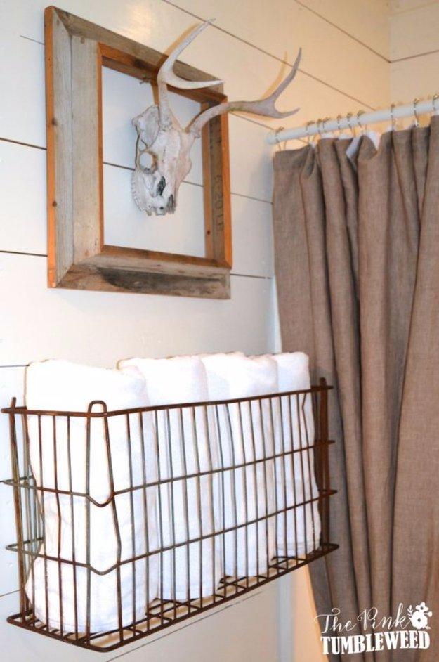 Vintage Metal Basket Towel Rack