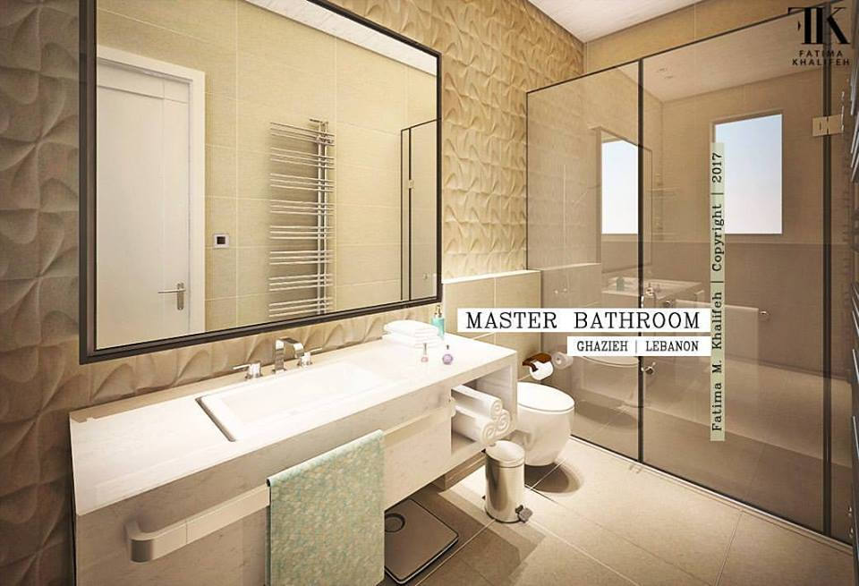 3D Tiles In Contemporary Bathroom With Big Mirror, White Vanity And Shower  Space