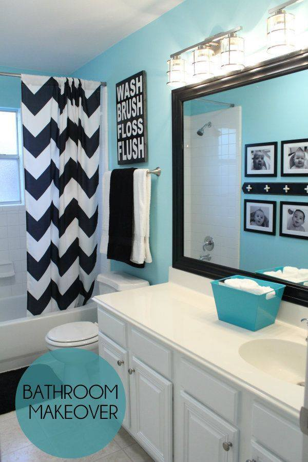 Acrylic Black & White Shower Curtain, Big Mirror, Black & White Photos On Wall Nice Idea For Kids Bathroom Decor