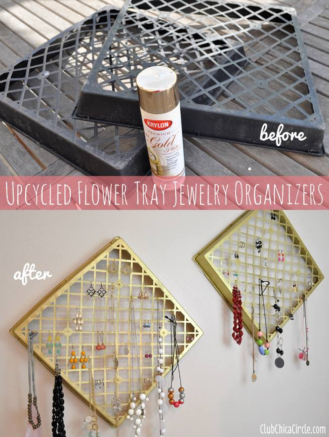 Adorable Idea To Upcycled Flower Tray As Jewelry Organizer