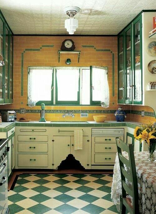 Adorale Yellow Retro Style Kitchen