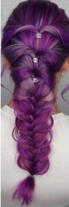 Alluring Purple Loose Braid Style