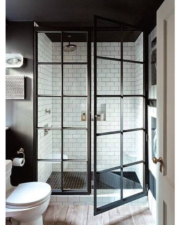 Amazing White Subway Tiles & Black Glass Door