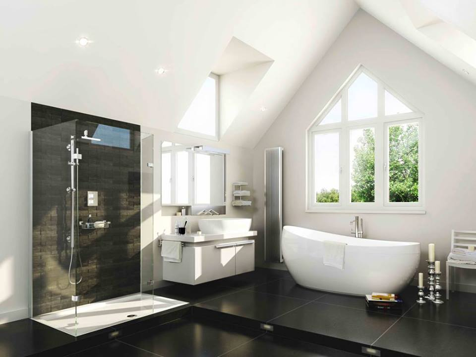 Amusing White bathroom Decor With Black Tiles Flooring & Beautiful Pitched Roof