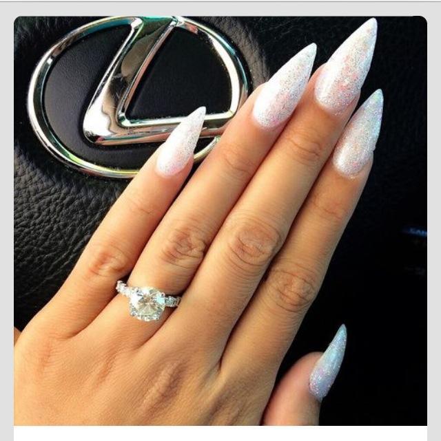 Attractive White Shimmer Stilettos Nail Art Blurmark
