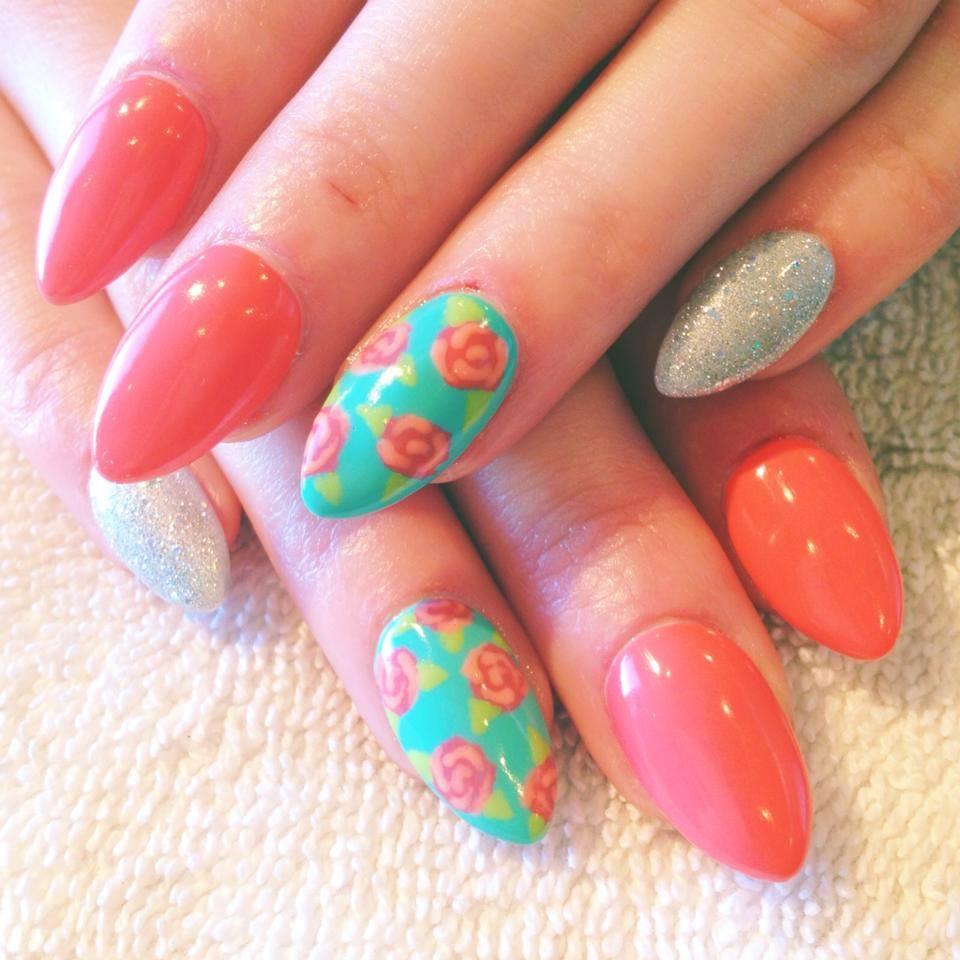 35 stylish stilettos nail art designs to flaunt with style awesome green stilettos nail art beautiful floral stilettos nails prinsesfo Gallery