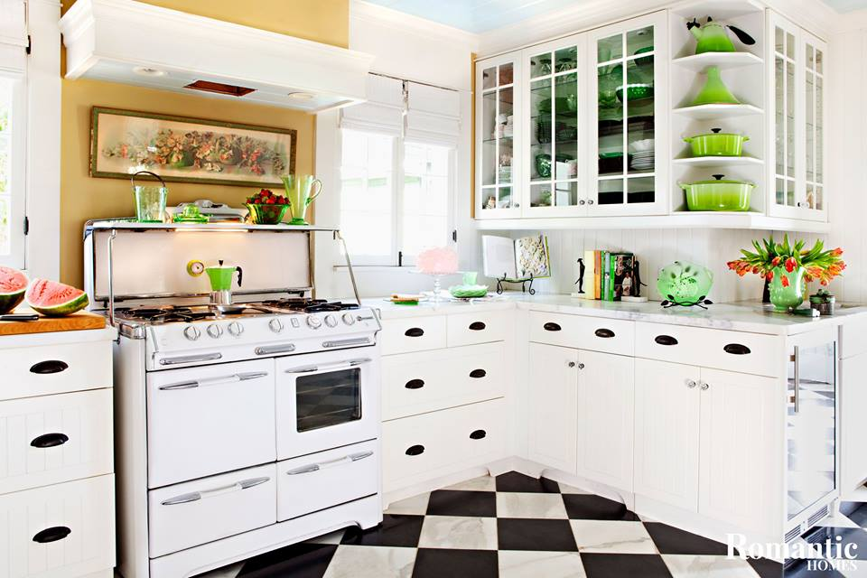Best White Kitchen Countertop & Cabinets With Colored Dishes, Pots, Pans & Bowls