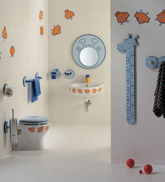 Birds Theme Kids Bathroom Decoration Idea