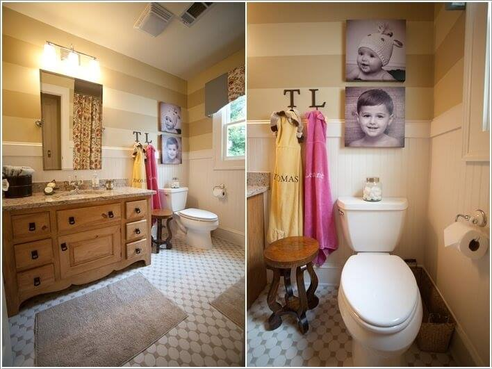 Black & White Pictures On Wall In Kids Bathroom Will Adore You