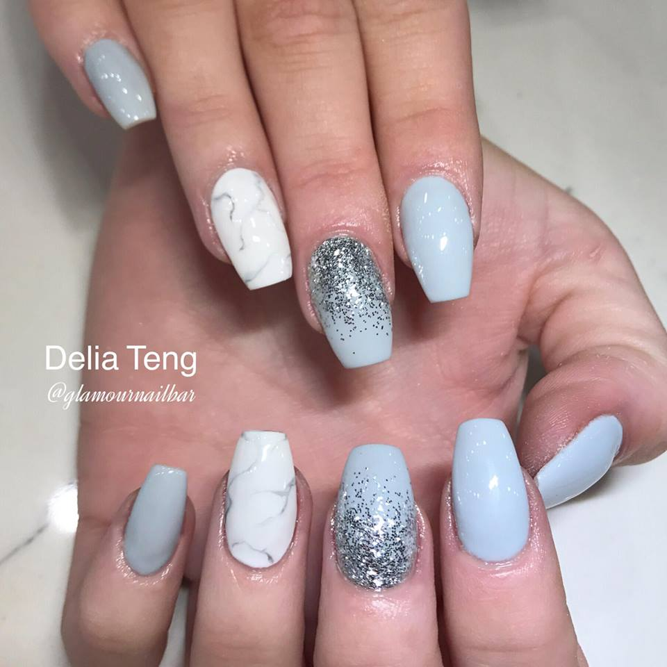 Marble Nail Art Blue: 40 Lustrous Shimmer Nail Art For Gorgeous Nails