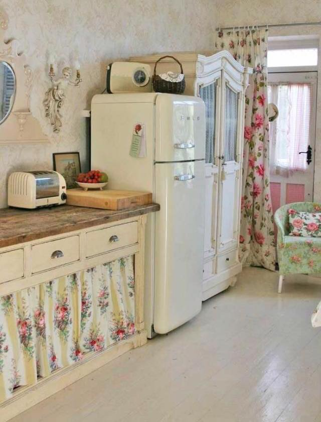Boho Style Retro Kitchen With Floral Curtains, Curved Fridge & Cabinets