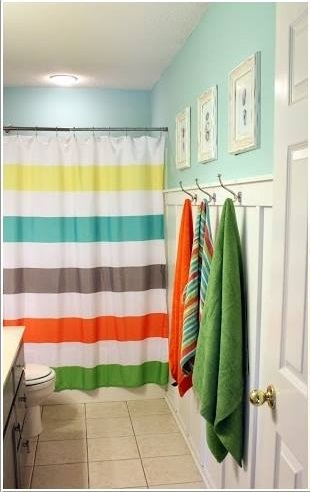 Bright Colouful Print Curtain In Kids Bathroom