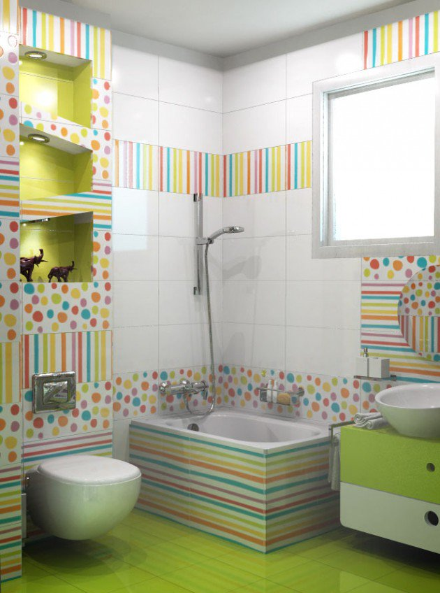 Colored Polka Dots & Stripes Design In Kids Bathroom
