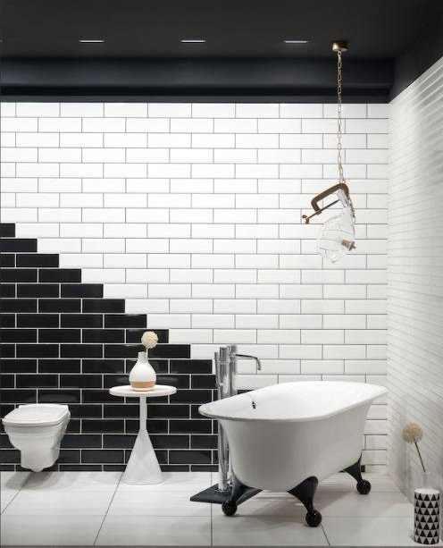 Creative Black & White Tiles With White Bathtub & Vanity