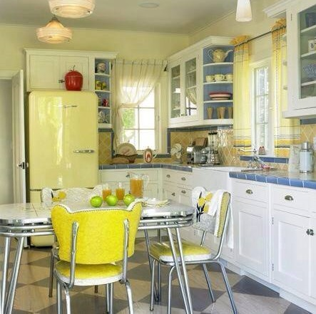 Curved Front Fridge, Vinyl Chairs And Formica Tabletop Perfect For Retro Kitchen