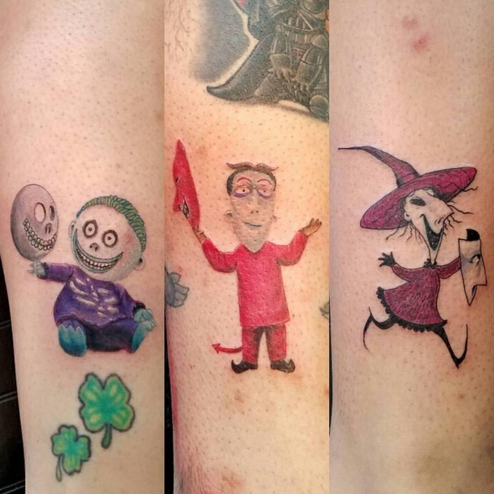 Dashing Cartoon Character Sibling Tattoos