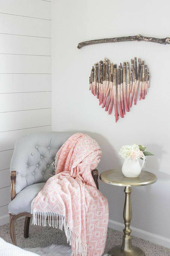 Dry Colored Tree Branches Used As Wall Decor