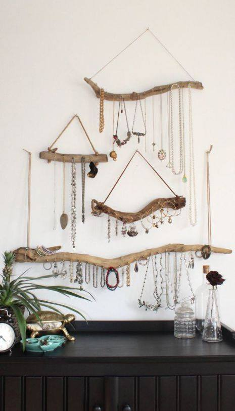 Dry Tree Branch Used To Store Jewelry