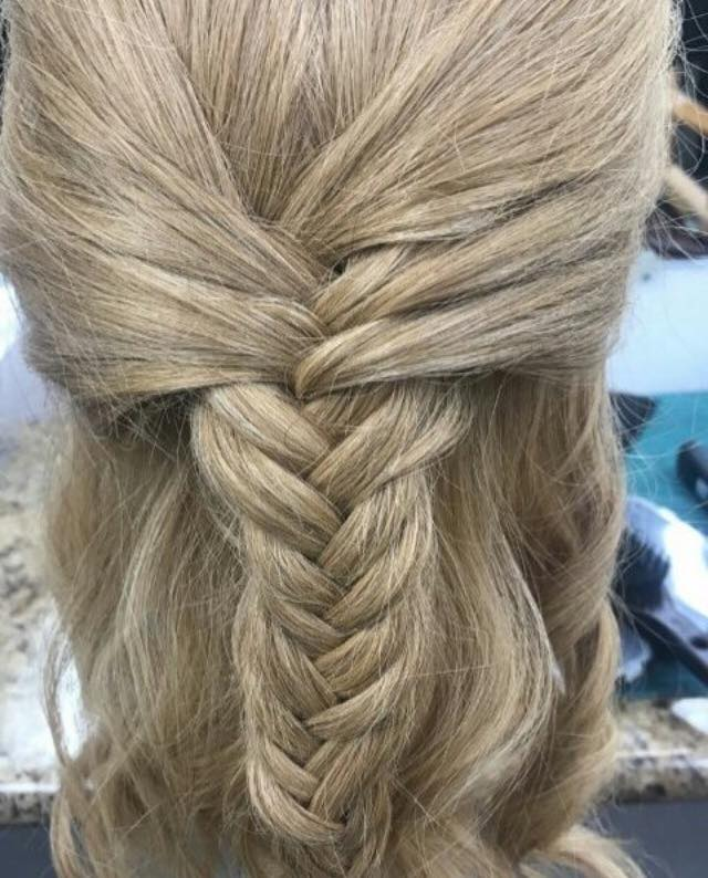 Elegant Fishtail Braid With Loose Curls