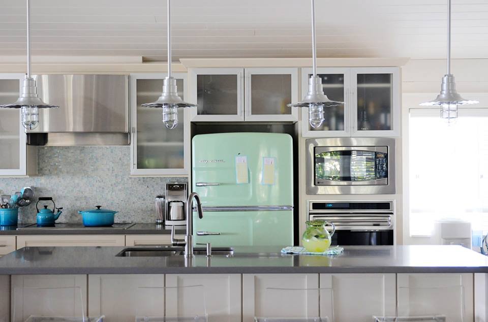 Exclusive Stainless Steel Appliances, Green Curved Fridge, Awesome Lights Fixer & Colored Utrenciles Perfect For Retro Look