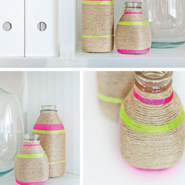 Extraordinary Jute And Neon Color Ribbon Jar Decoration