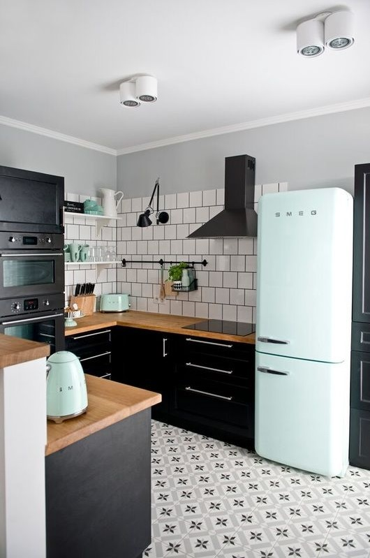 Fancy Retro Kitchen With White Curved Fridge, Awesome Flooring & Appliances